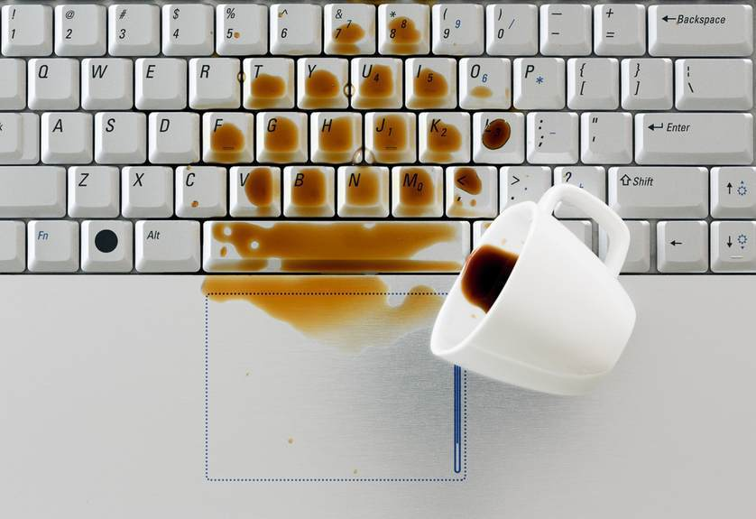 Coffee On Laptop Keyboard